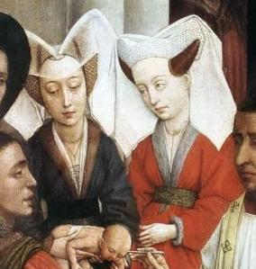 Rogier van der Weyden. Siete Sacramentos. Bautismo,  confirmación y penitencia (detalle)