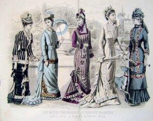 1879. Peterson's Magazine. Figurines de moda en la etapa en que desaparece el polisón.
