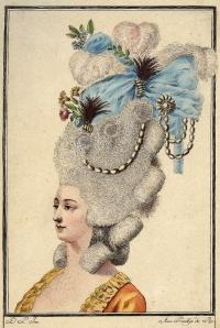 Figurín de peinado del siglo XVIII