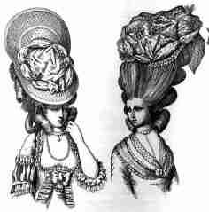1770. Figurines de peinados de moda