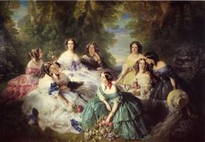 1855. Winterhalter. La emperatriz Eugenia rodeada de sus damas en Waiting,, Château de Compiègne