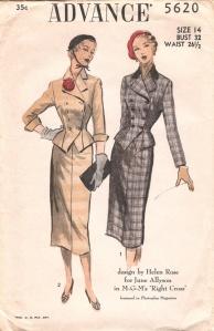 Folletos con patrones realizados por Helen Rose, 1951