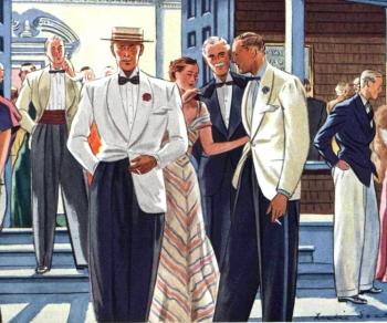 1935. Distintas prendas formales de verano: smoking y chaquetas blancas.