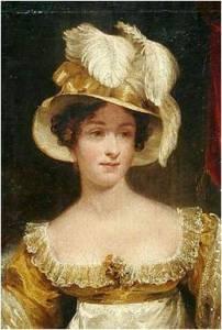 1810. Joseph Clover . 'Retrato de dama con sombrero'. (Detalle)